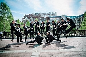 The Cast having a little fun at company pictures