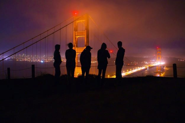 Penn Tech Trek members hike up to see an amazing view of the Golden Gate Bridge.